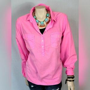 J. CREW Neon Pink Cotton Popover SZ L